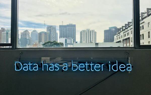 "A neon sign reading ""Data has a better idea"" in front of a window overlooking a cityscape"
